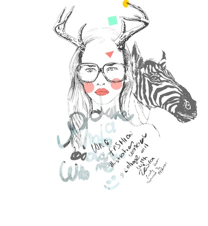 """wild life"": sketch girl with wild life"