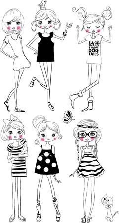 Abbildung niedliche Mädchen Sammlung Vektorgrafik