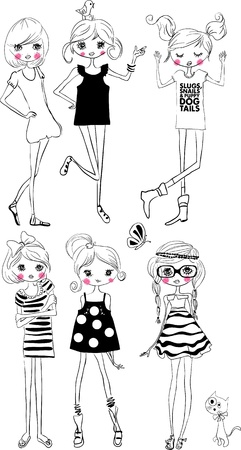 fashion girl: illustration cute girl collection