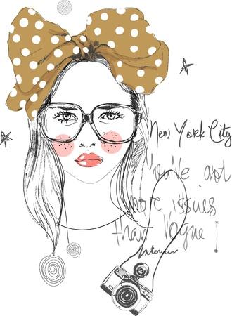 Ilustracja rysunek dziewczyny z wstążką i kamery