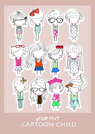 artoon group child Ilustracja
