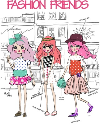 ladies shopping: fashion friends Illustration