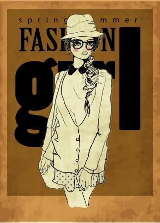 fashion girl vith sepia Ilustracja