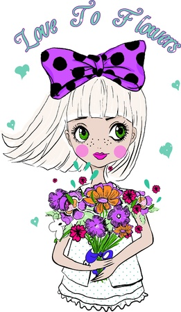 flowers-with-girl Vector
