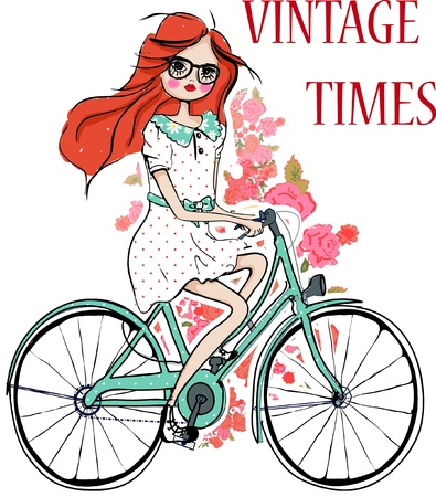 illustration-girl-bicycle Vector