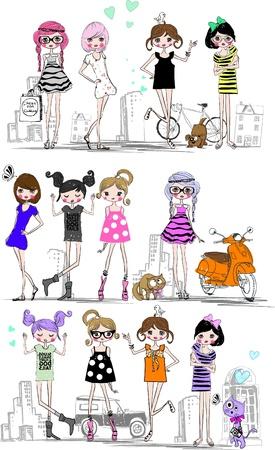a group of modern cartoon girls Vector