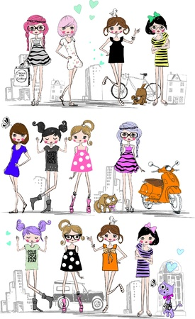 a group of modern cartoon girls Ilustracja