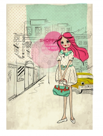 shopping cute Illustration