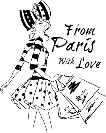 femme dessin: Shopping � Paris Illustration