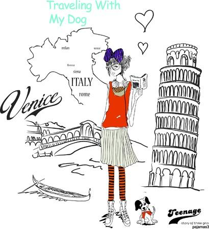 Historia trzech dziewczyn włoszech Ilustracja
