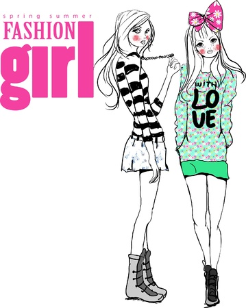 two girls fashion girl Illustration