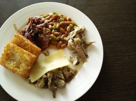 fried potatoes: Beans, cheese, bacon, fried potatoes