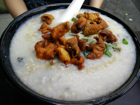innards: Porridge served with pork innards