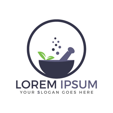 Pharmacy medical logo. Natural mortar and pestle logo.