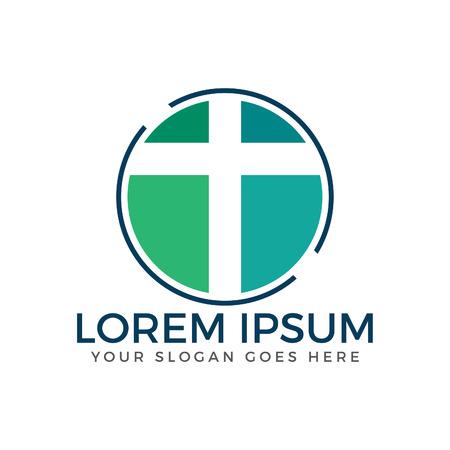 Cross vector logo design. Church and Christian organization logo.