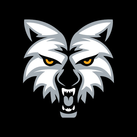 Wolf head mascot vector design. Çizim
