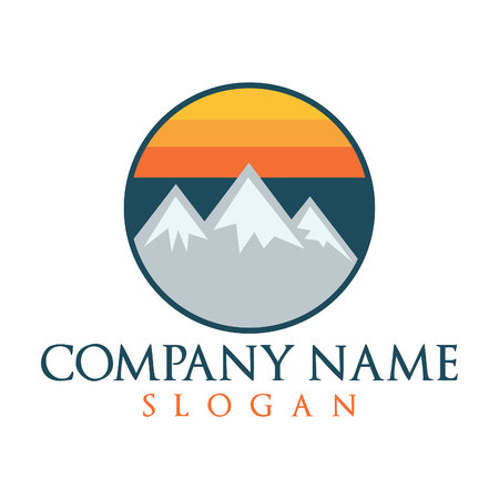 Mountains vector logo. Hiking and camping logo.  イラスト・ベクター素材