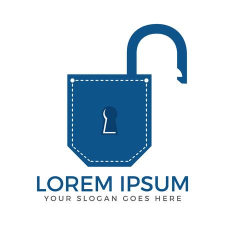 Pocket padlock logo design. Pocket app security logo design.