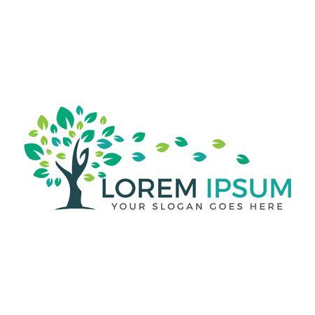 Green tree vector logo design. Natural product, organic shop, ecology company, alternative medicine, green unity, garden, farming, forest etc.