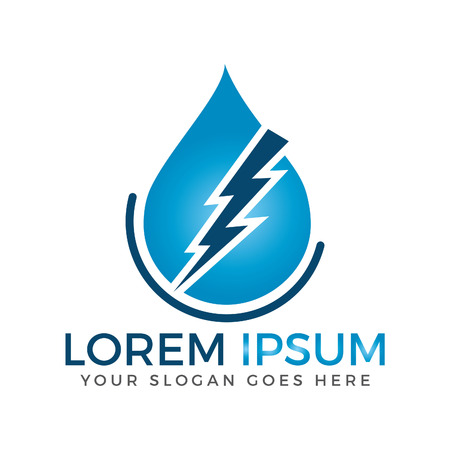 Water drop and Lightning bolt logo.