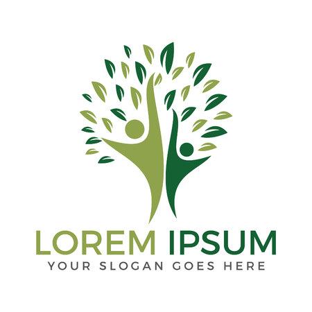 Lebensbaum-Logo. Menschen und Stammbaum Logo Design.