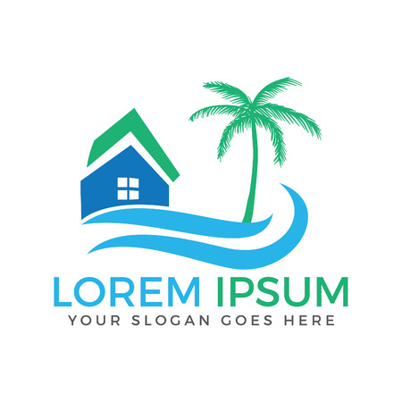 Vector house and palm tree logo with blue waves. Beach house logo design.