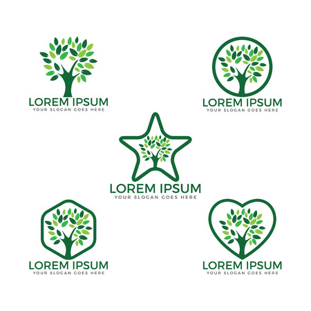 Tree vector set logos design.