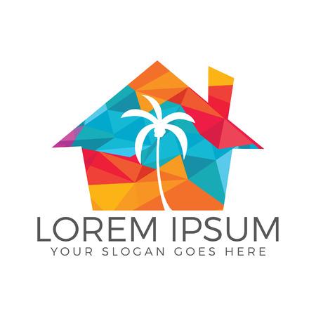 Tropisch strandhuis en palm logo ontwerp.