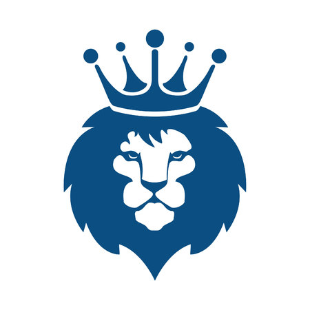 Lion head with crown logo design.