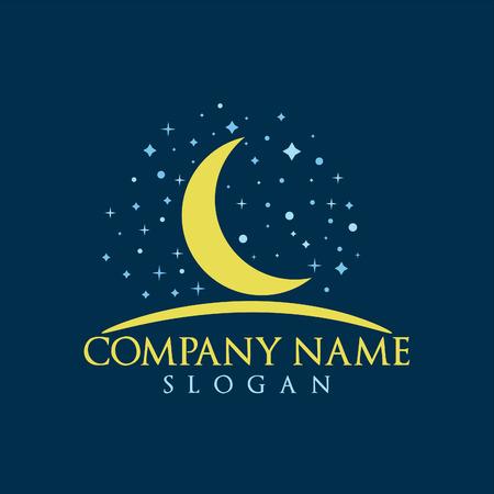 Moon, Stars and night logo design.