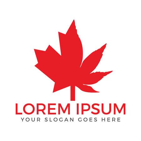Canada Cannabis Logo.Marijuana and maple leaves logo design.