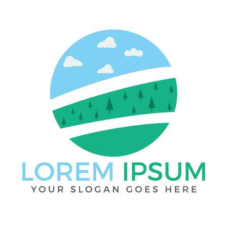 Landscape vector logo design.