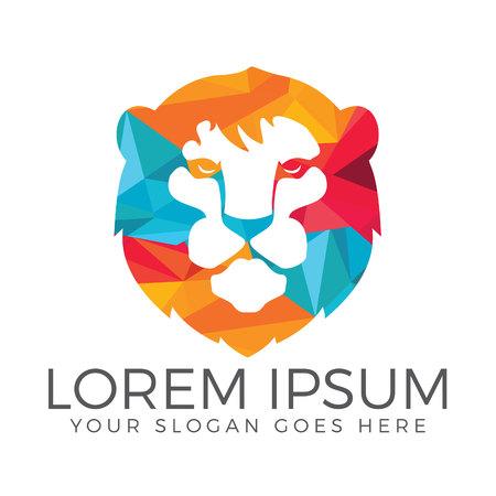 Lion head vector logo design.