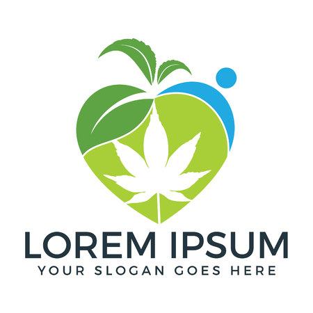Heart shape marijuana leaf and human logo design.