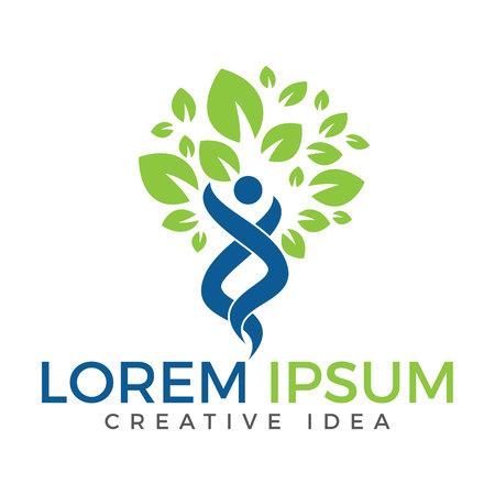 Human Tree Logo. Creative People Care Concept Logo Design.