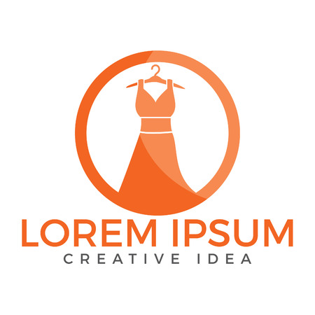 Dress boutique or fashion atelier salon logo. Template for dressmaker shop. Vectores