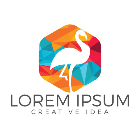 Flamingo in mosaic background logo design.
