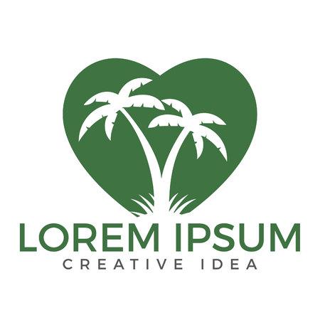 ハート型のトロピカルビーチとヤシの木のロゴデザイン。