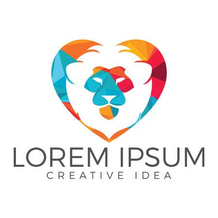 Lion heart shape logo template design vector icon illustration. Illustration