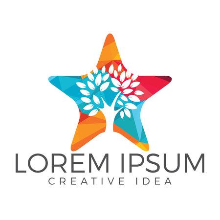 Star tree logo design. Illustration