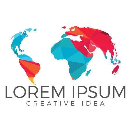 World map logo. Creative travel logo design.