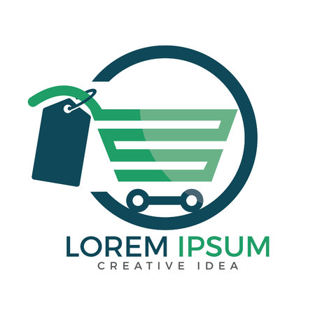 Shopping cart vector logo design. On-line shopping app icon.
