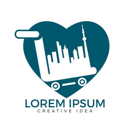 City Shopping heart shape logo design. Cart and buildings icon design. Illusztráció