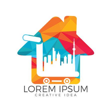 City Shopping home shape logo design. Cart and buildings icon design. Stock Illustratie