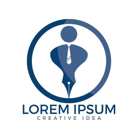 Pen nib or pen tip with a man head on the top for gentle pen logo vector. Education Logo. Institutional and educational vector logo design.