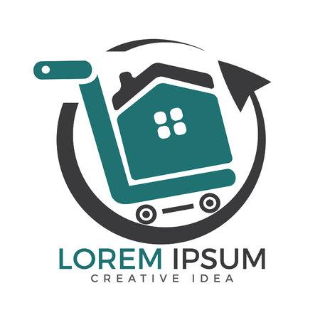 Shopping cart with house vector logo design. Shop home logotype. Home market logo. Shopping house logo.