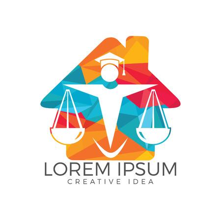 Juridical legal center emblem. Law logo design.