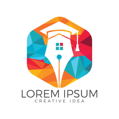 Pen and home logo design. Education logo concept with pen and home.