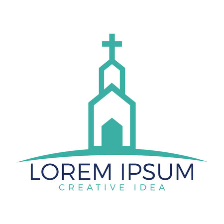Church building logo design. Template logo for churches and Christian organizations cross