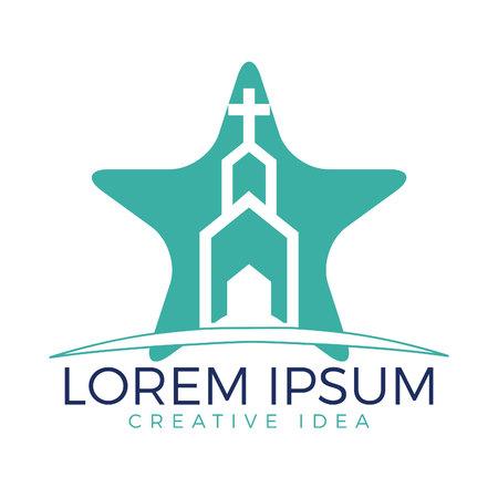 Design del logo a forma di stella a forma di chiesa. Logo modello per chiese e organizzazioni cristiane incrociate Archivio Fotografico - 98833935